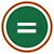 white equals sign on green circle